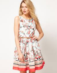 print dress lyst oasis oasis dress with scenic print