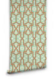 architectural wallpaper in apricot slice by milton u0026 king u2013 burke