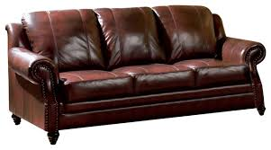 leather sofa with nailheads leather sofa with nailhead trim burgundy traditional sofas