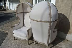french canopy chair pair of french white linen canopy hood bishops chairs for sale at