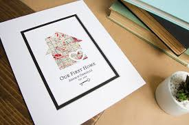 New House Gift Our First Home Personalized Home Map Gift W Key New House