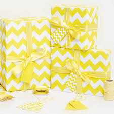 yellow wrapping paper recycled yellow chevron white wrapping paper by
