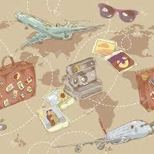 travel world map travel seamless repeating pattern with plane bag and