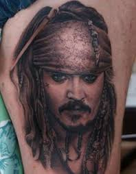 very smooth photo realistic tattoo portrait of captain jack