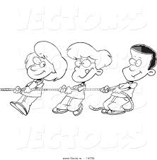 vector of a cartoon and boys pulling a coloring page