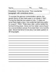 english worksheets proofreading anne frank paragraph with answers