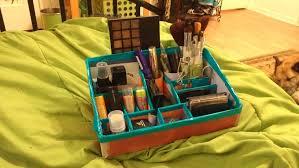 my diy makeup organizer really easy project all you need is a box some tape and a pair of scissors