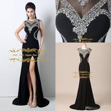 2015 black evening dresses jewel sequins with chiffon sweep train
