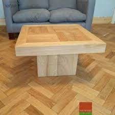 coffee table made of engineered wooden floor boards matching