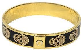 skull bangle bracelet images Alexander mcqueen signature gold and black skull bangle bracelet jpg