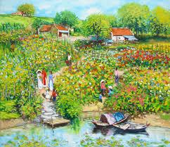 Flower Garden Hanoi by Lam Manh Asian Art Flower Garden By The River