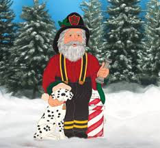Outdoor Christmas Decorations Igloo by Firefighters Christmas Decor Fireman Santa Wood Pattern Outdoor