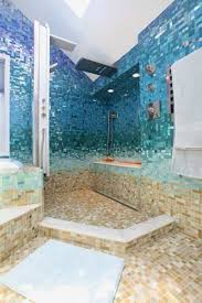 blue bathroom ideas white bathtub glass sink table standing shower