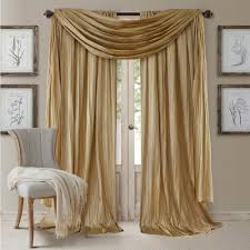 semi opaque gold rod pocket 2 window curtain panel 52 in w x 95