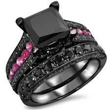 black gold wedding sets jewels evolees black diamond bridal ring set black gold black