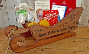 personalised christmas engraved gift sleigh large antique pine