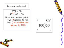percent to decimal decimals and percents goal change a percent to a decimal multiply