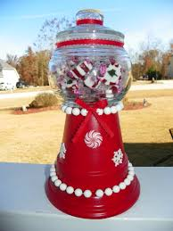 holiday gumball machine made with clay pot saucer and bowl