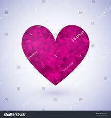 abstract bright pink polygonal heart love stock vector 552652360