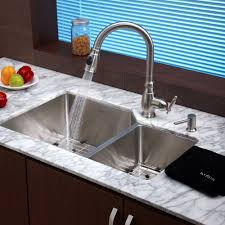 copper kitchen faucet with soap dispenser centerset single handle