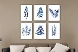 blue fern illustration watercolor wall decor kitchen art