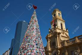 santiago chile december 19 2014 christmas tree decorated