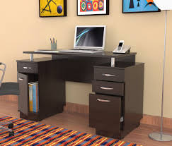 Laminate Flooring Corners Dark Brown Wooden Small Desks With Drawers And Storage Having