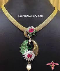 elegant gold necklace designs images Elegant gold necklace with cz pendant jewellery designs jpg
