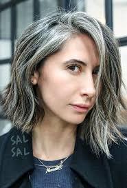 grey streaks in hair lob hair haircut blunt beautiful gray hair streaks lovely lob