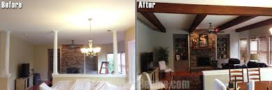 Before And After Living Rooms by Diy Living Room Makeovers With Beams Faux Wood Workshop