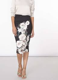 black and green floral pencil skirt shopperboard