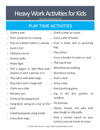 50 heavy work activities for kids free printable and next comes l