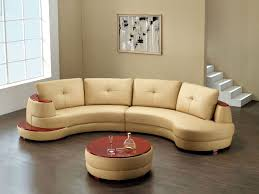 amazing half circular brown leather tufted sofa with round table