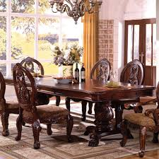furniture of america tuscany double pedestal formal dining table