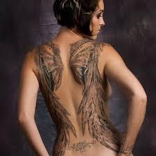 characteristic wing tattoo 5 wing back tattoo on tattoochief com