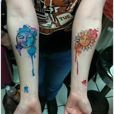 watercolor sun and moon on sleeve segerios com