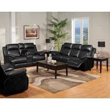 Black Leather Reclining Sofa And Loveseat Dual Recliner Sofa With Table
