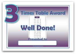 3times Table 3 Times Table Award Certificate Template
