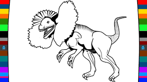 wild animal coloring page how to draw a dilophosaurus dinosaur