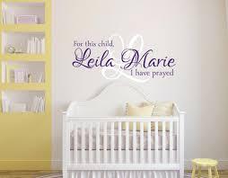Purple Wall Decals For Nursery Purple Wall Decals For Nursery For This Child I Prayed Wall