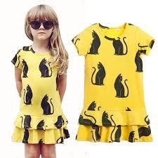 2017 2016 girls mini rodini dress summer cotton cartoon black cats