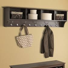 simple entryway storage bench design with iron wire basket coat