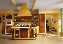 Modern Italian Kitchen Design Yellow Wall Paint Color For Italian Kitchen Decor With Cozy