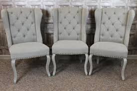 Style Dining Chairs Button Back Winged Style Dining Chairs In Linen With