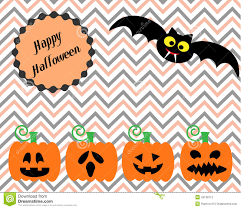 cute spooky background happy halloween with cute bad and cutie pumpkins stock