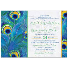 wedding invitations blue peacock feather wedding invitation watercolor blue green yellow