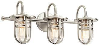 brushed nickel bathroom lights kichler 45133ni caparros modern brushed nickel 3 light bathroom