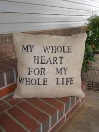 my whole heart throw pillow burlap pillow wedding decor slipcover
