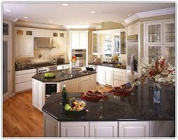 White Kitchen Cabinets With Black Countertops Antique White Kitchen Cabinets With Black Granite Countertops