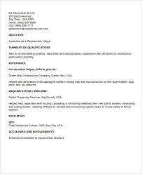 Construction Sample Resume by Sample Resume For Construction Worker Resume Sample For